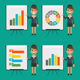 Infographics businesswoman indicates on flip chart Stock Images