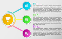 Infographics 4 cerchi di carta Strategia aziendale ed il percorso a successo Illustrazione di vettore Testo rigoroso Il diagramma illustrazione di stock