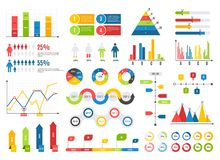 Infographics chart set. Charts result graphs icons statistics financial data diagrams. Isolated analysis vector elements. Infographics chart set. Charts result royalty free illustration
