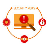 Infographics che mostra i rischi che sono collegati solitamente con il compu illustrazione di stock