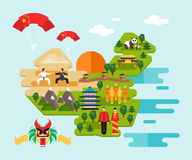 Infographics about China. Vector illustration. Tourist infographics about China. National symbols, national costumes. Famous attractions. Welcome to China vector illustration