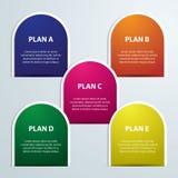 Infographics cinque colori identifica l'illustrazione di vettore metà del cerchio illustrazione vettoriale