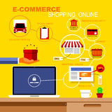 Infographics circa il commercio elettronico e l'acquisto Immagini Stock Libere da Diritti
