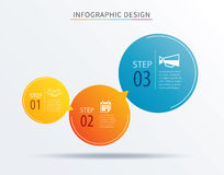 Infographics circle number 3 step template. Vector illustration Stock Photography