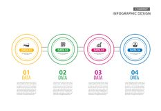 Infographics circle thin line with 4 data template. Vector illus royalty free illustration