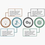 Infographics with circles and linear squares. Business template. Infographics with circles and linear squares. Business template with four options, parts Stock Images