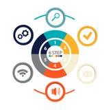 Infographics circulaire moderne de 6 étapes, segments pour des rapports annuels, diagrammes, présentations, web design Images stock