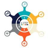 Infographics circulaire moderne de 6 étapes, segments pour des rapports annuels, diagrammes, présentations, web design Photos libres de droits