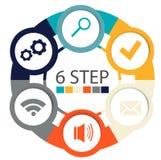 Infographics circulaire moderne de 6 étapes, segments pour des rapports annuels, diagrammes, présentations, web design Photo libre de droits