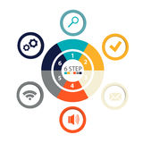 Infographics circulaire moderne de 6 étapes, segments pour des rapports annuels, diagrammes, présentations, web design Photo stock