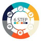 Infographics circulaire moderne de 6 étapes, segments pour des rapports annuels, diagrammes, présentations, web design Image stock