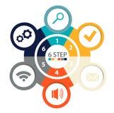 Infographics circulaire moderne de 6 étapes, segments pour des rapports annuels, diagrammes, présentations, web design Images libres de droits