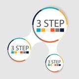 Infographics circulaire moderne de 3 étapes, segments pour des rapports annuels, diagrammes, présentations, web design Image libre de droits