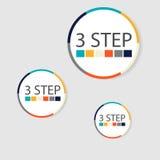 Infographics circulaire moderne de 3 étapes, segments pour des rapports annuels, diagrammes, présentations, web design Images stock