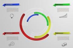 Infographics circular con los iconos del esquema Infographic redondeada Imagen de archivo libre de regalías