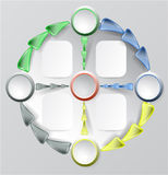 Infographics circular diagram template with buttons and arrows. Four colorful buttons and arrows for webdesign and infographic Royalty Free Stock Photo