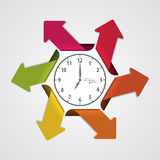 Infographics clock with arrows. Vector illustration.  Royalty Free Stock Photo