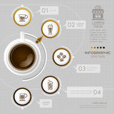 Infographics Coffee design template with icons, process,. Vector eps10 illustration Stock Images