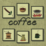 Infographics coffee production. Coffee set. stages of coffee process from grain growing to drink Stock Photography