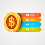Infographics coin. Vector design element. Royalty Free Stock Photography
