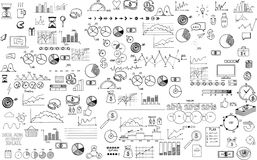 Infographics collection hand drawn doodle sketch. Business ecomomic finance elements Stock Photos