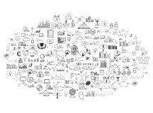 Infographics collection hand drawn doodle sketch Royalty Free Stock Image