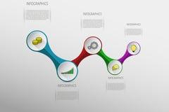 Infographics coloré moderne avec l'endroit pour le texte et les icônes plates illustration de vecteur