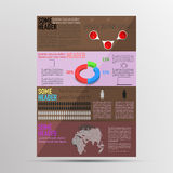 Infographics coloreado moderno del folleto Infographic con cronología, Foto de archivo