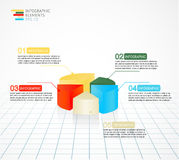 Infographics colored pie chart diagram template for business reports and presentations. Stock Photography