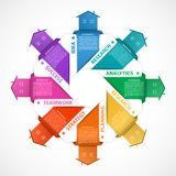 Infographics with colorful houses and hanging ribbons. For the presentation or advertising brochures. Royalty Free Stock Images