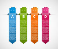 Infographics with colorful houses and hanging ribbons. For the presentation or advertising brochures. Royalty Free Stock Photos
