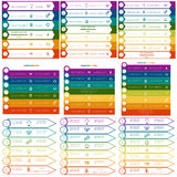 Infographics colorful strips on 6, 7, 8 options Stock Photo