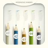 Infographics colorido 3d abstrato do lápis Imagens de Stock Royalty Free