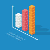Infographics column graph element. Isometric Royalty Free Stock Images