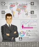 Infographics com mapa da terra Foto de Stock Royalty Free
