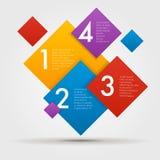 Infographics composito per gradi in una serie dei quadrati Elemento del grafico, grafico, diagramma con 4 opzioni, parti illustrazione di stock