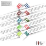 Infographics con el espacio para el texto y las etiquetas engomadas en un fondo blanco Imagen de archivo libre de regalías