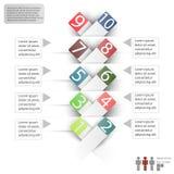 Infographics con el espacio para el texto y las etiquetas engomadas en un fondo blanco Fotos de archivo libres de regalías