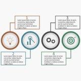 Infographics con i cerchi ed i quadrati lineari Modello di affari illustrazione di stock