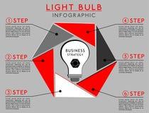 Infographics con la bombilla stock de ilustración