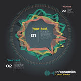 Infographics con las ondas acústicas en un fondo oscuro Foto de archivo libre de regalías