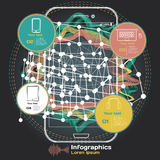 Infographics con las ondas acústicas en un fondo oscuro en tema Foto de archivo libre de regalías