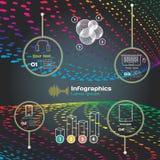 Infographics con las ondas acústicas en un fondo oscuro en tema Imágenes de archivo libres de regalías