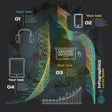 Infographics con le onde sonore ed i dispositivi su un fondo scuro Immagine Stock