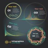 Infographics con le onde sonore su un fondo scuro Fotografia Stock