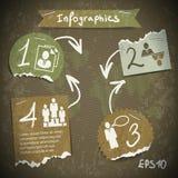Infographics con pezzi di carta lacerati Fotografia Stock Libera da Diritti