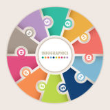 Infographics con rompecabezas de la circular de diez opciones Imágenes de archivo libres de regalías