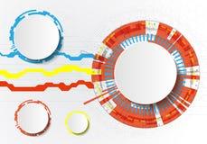 Infographics con tecnología de los círculos en el backgraund blanco Puede ser utilizado para la disposición del flujo de trabajo, ilustración del vector
