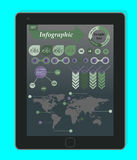 Infographics Concept on a black Tablet PC. Stock Image
