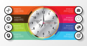 Infographics concept with clock. Modern design template. Vector Royalty Free Stock Photography